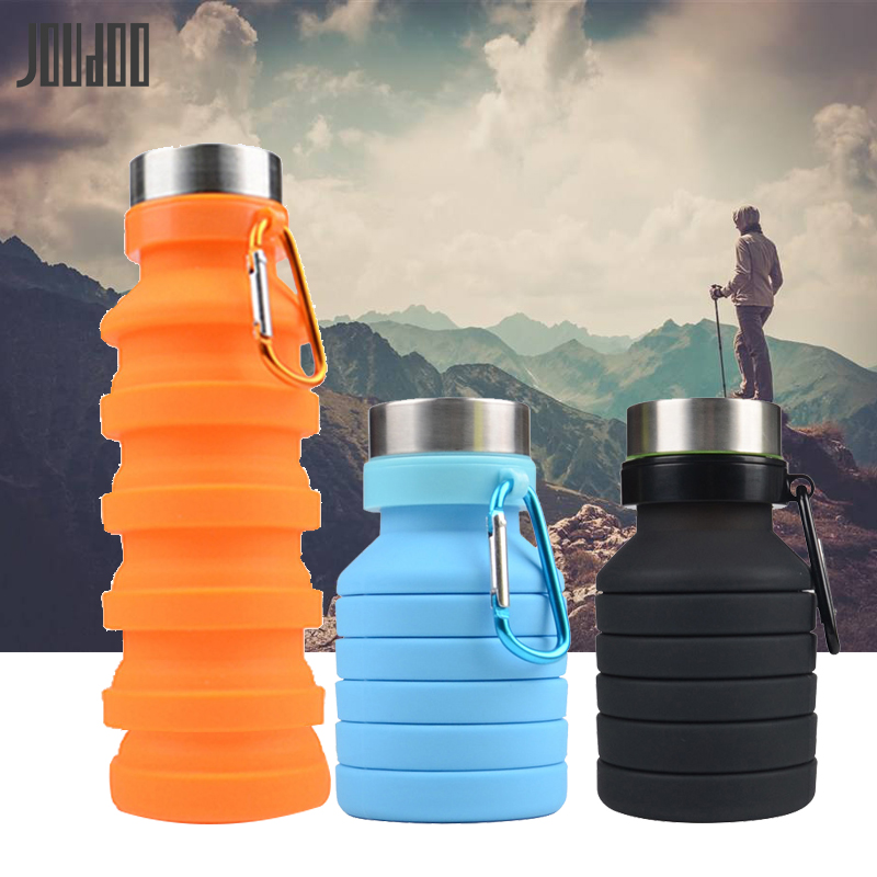 JOUDOO 470ML Retractable Folding Water Bottle Portable Silicone Coffee Bottle Outdoor Travel Drinking Sport Drink Kettle 40