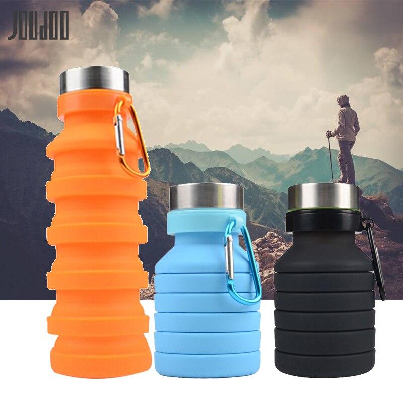 JOUDOO botella de agua plegable retráctil de 470 ML botella de café de silicona portátil para viajes al aire libre bebida deportiva tetera 40