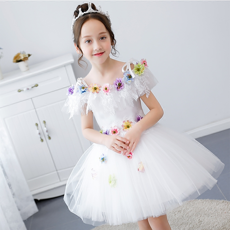 2018 Sweet Cute Girls Children Beautiful Shoulderless White Color Birthday Wedding Party Ball Gown Dress Kids Tutu Pageant Dress2018 Sweet Cute Girls Children Beautiful Shoulderless White Color Birthday Wedding Party Ball Gown Dress Kids Tutu Pageant Dress