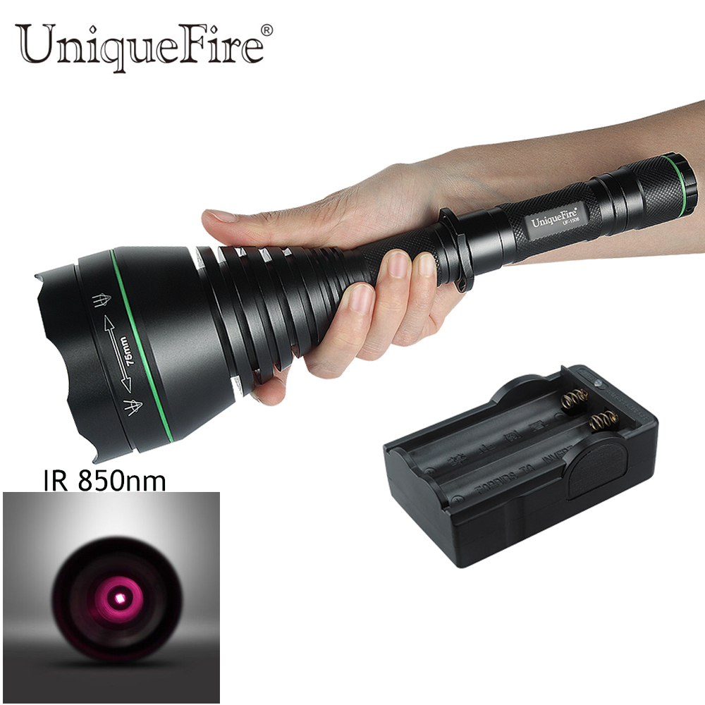 UniqueFire Night Vision Infrared Flashlight UF-1508 IR 850nm Rechargeable 18650 Lamp Torch, 3 Modes T75 Flashlight+Charger dc 22 shining hot selling drop shipping outdoor uf t20 cree infrared ir 850nm night vision zoom led flashlight lamp