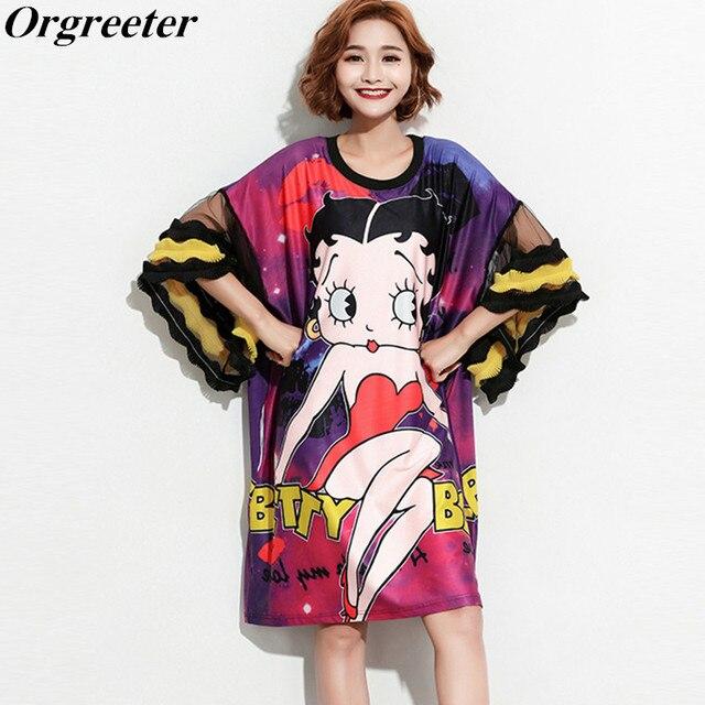 bbd37a54f Women Oversize Ruffle Spliced Flare Sleeve Loose Dress Hot Cartoon Girl  pattern Print Summer Dress Plus Size Casual Tshirt Dress
