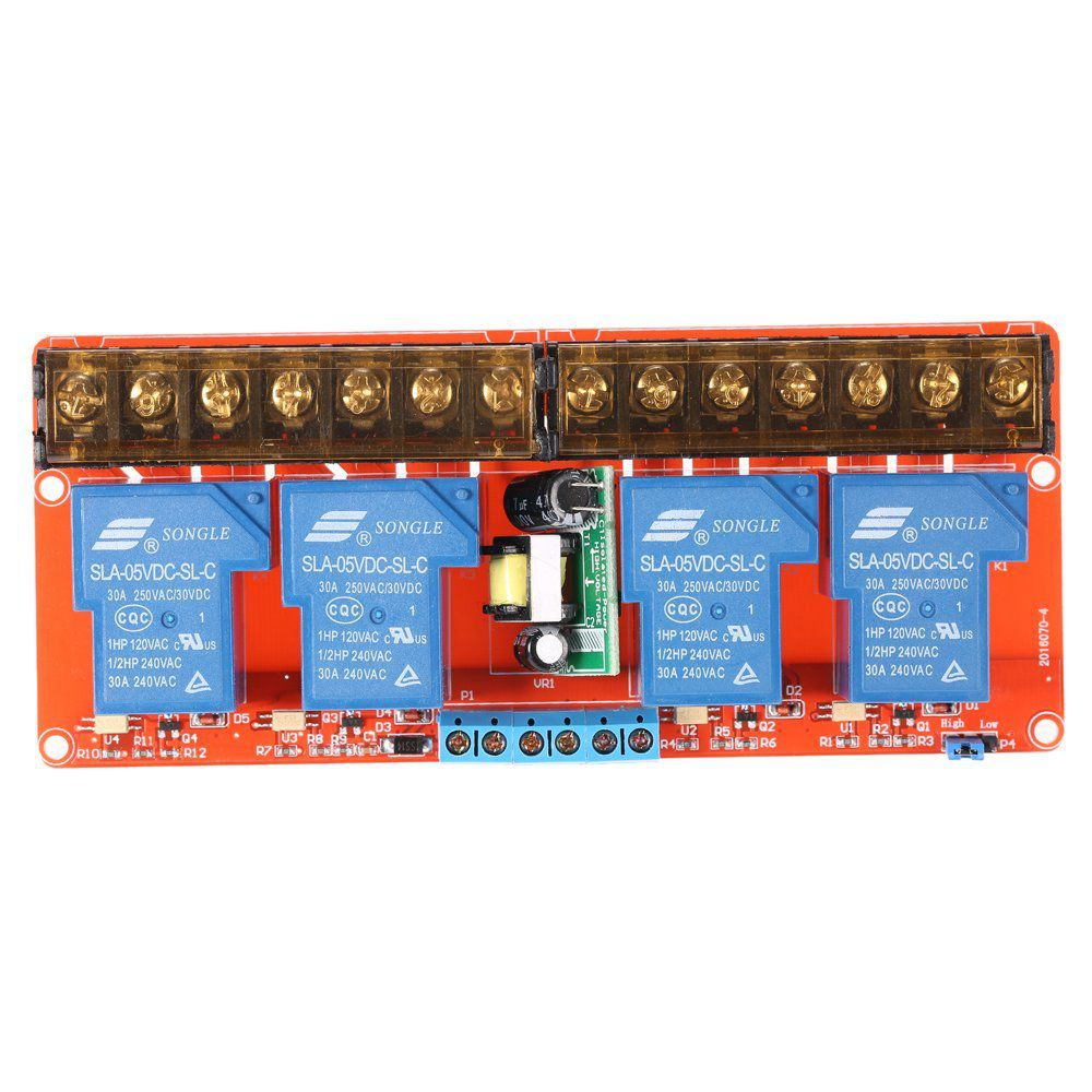 4-channel 250VAC 30A Solid State Relay Module Board High/Low Level Trigger