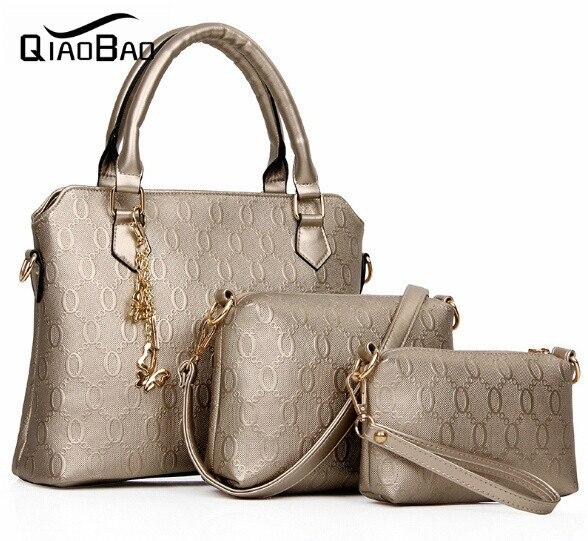 QIAOBAO women O type pattern leather font b handbag b font women messenger bags brand designs