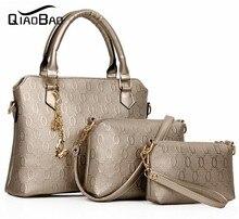 QIAOBAO mujeres O de tipo patrón de cuero bolso mujeres messenger bags marca diseños bolsa bolsas Bolso + Bolso Del Mensajero + monedero 3 Sets