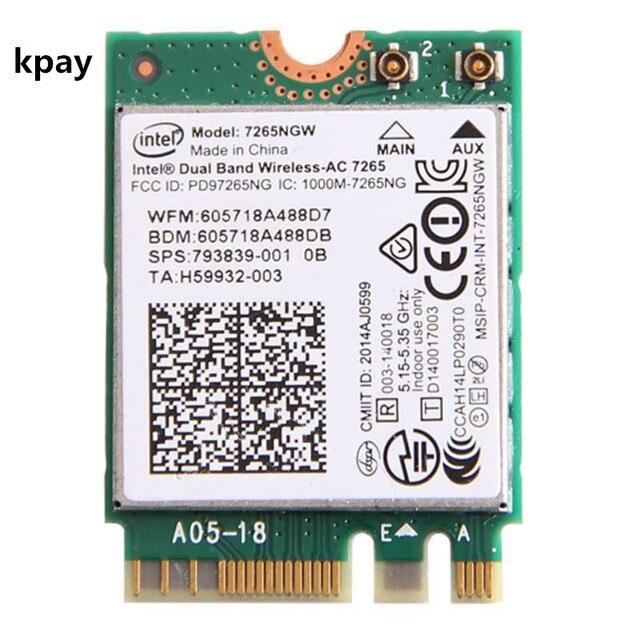ラップトップ無線 Lan インテル 7265NGW デュアルバンドワイヤレス AC 7265 867 150mbps 802.11ac 2 × 2 WiFi + Bluetooth BT 4.0 NGFF M.2 ミニカード