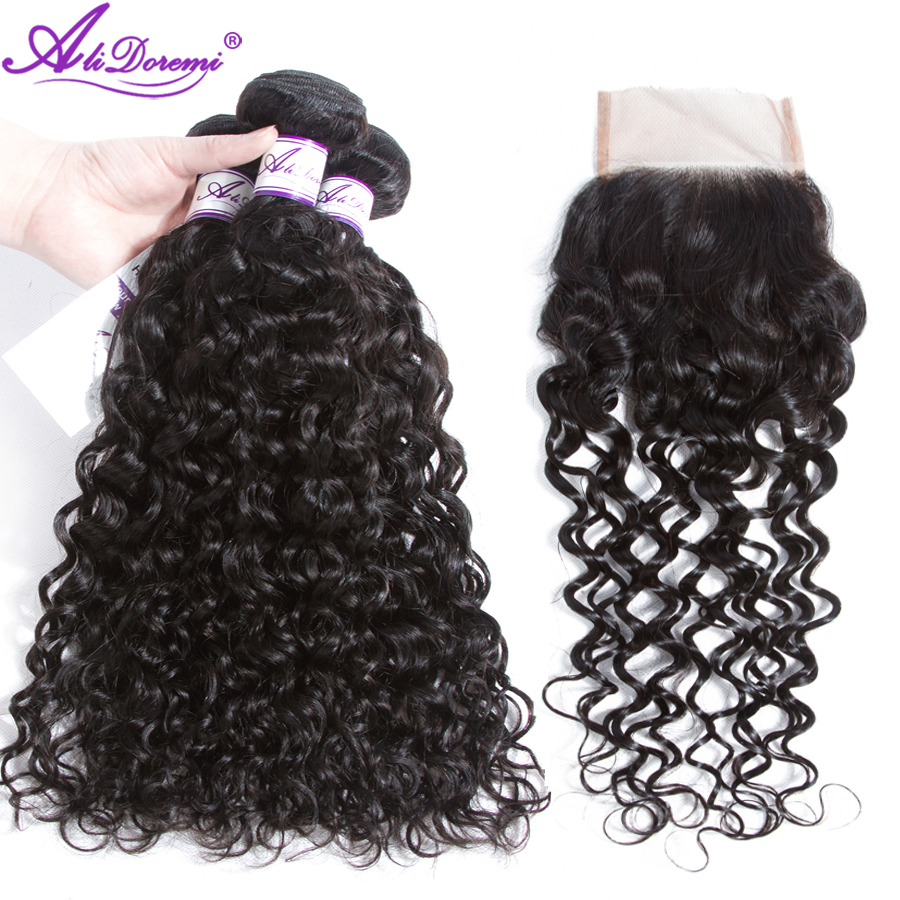 Malaysian Water Wave 3 Bundles with Closure Human Hair Bundles with Closure Human Hair Weave 4