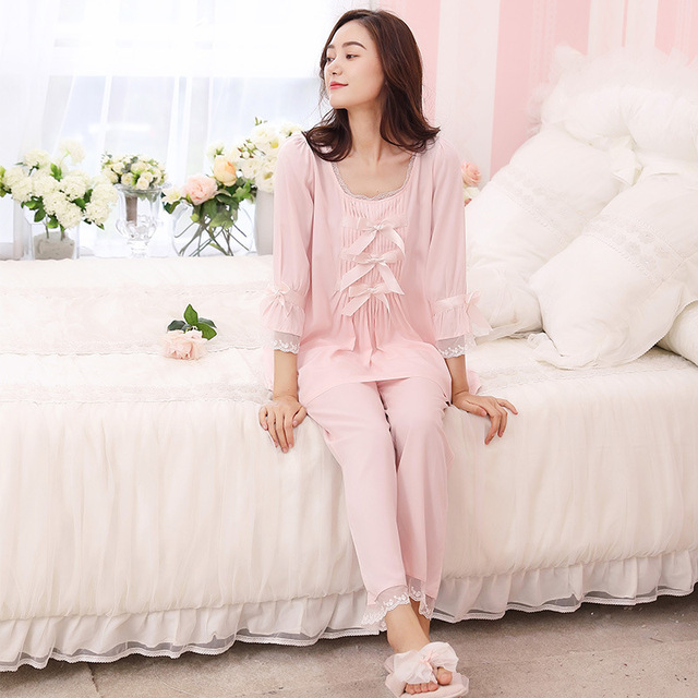 RenYvtil Princess White   Pink Pajamas Autumn Winter Women Pajama Pants  Sets Vintage Royal Sweet Lace Sleepwear Lounge Set b9c940a53