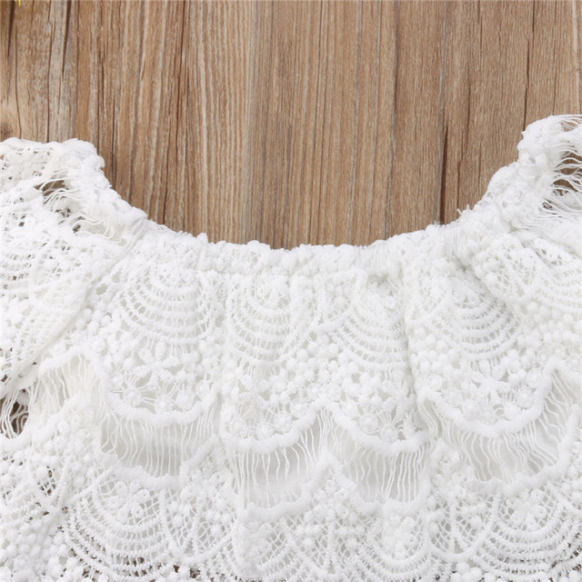 2-Pieces Crochet Lace Top and Denim Short Set for Baby Girl