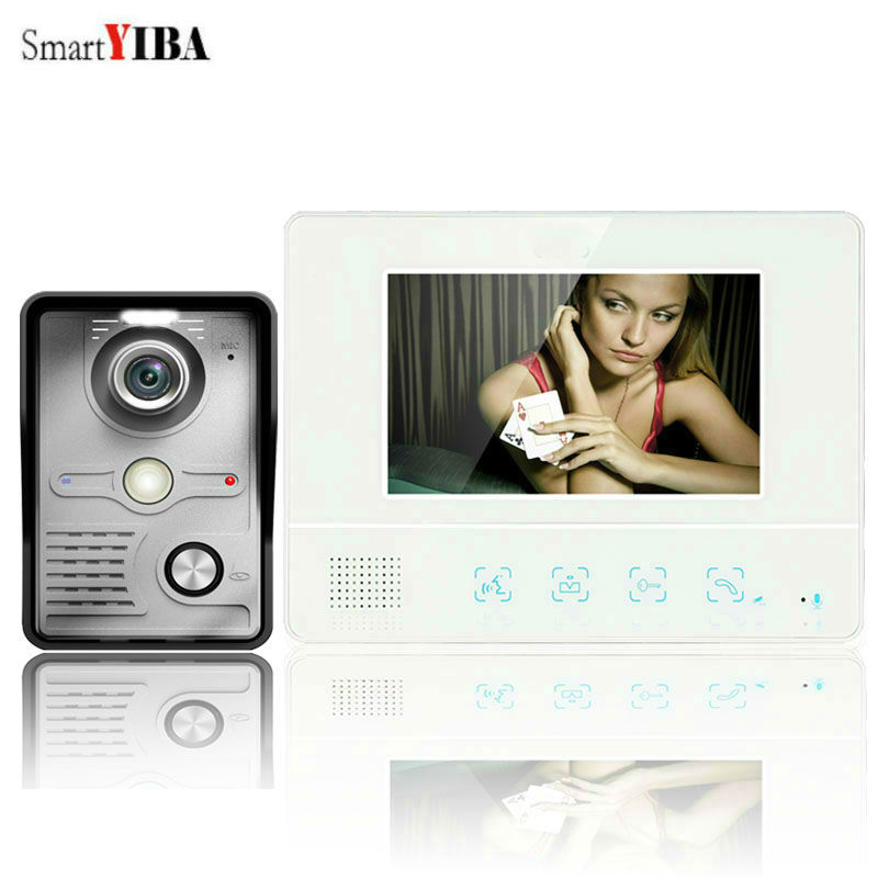 SmartYIBA 7 Inch IR Night Vision Video Door Phone LCD Display Touch button 1 Monitor Doorbell Intercom Security Camera  kitsSmartYIBA 7 Inch IR Night Vision Video Door Phone LCD Display Touch button 1 Monitor Doorbell Intercom Security Camera  kits
