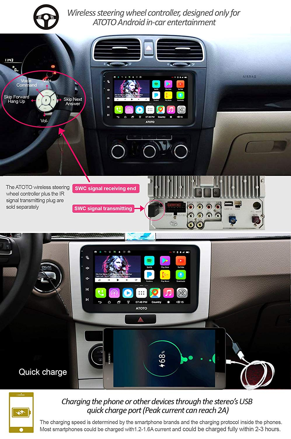 US $226 59 9% OFF|ATOTO A6 Android Car GPS Navigation Stereo/for Selected  VW Volkswagen&Skoda/2*Bluetooth/Premium A6YVW821P/Auto Multimedia Radio-in