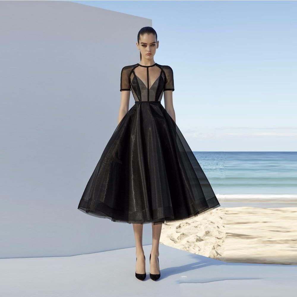 Black   Evening     Dresses   2019 A-line Short Sleeves Tea Length Tulle Formal Islamic Dubai Kaftan Saudi Arabic Long   Evening   Gown