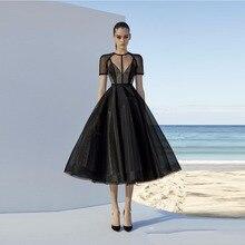 Robe de soirée noire en Tulle, ligne a, manches courtes, longueur thé, style islamique, style Dubai Kaftan, arabie saoudite, robes doccasion