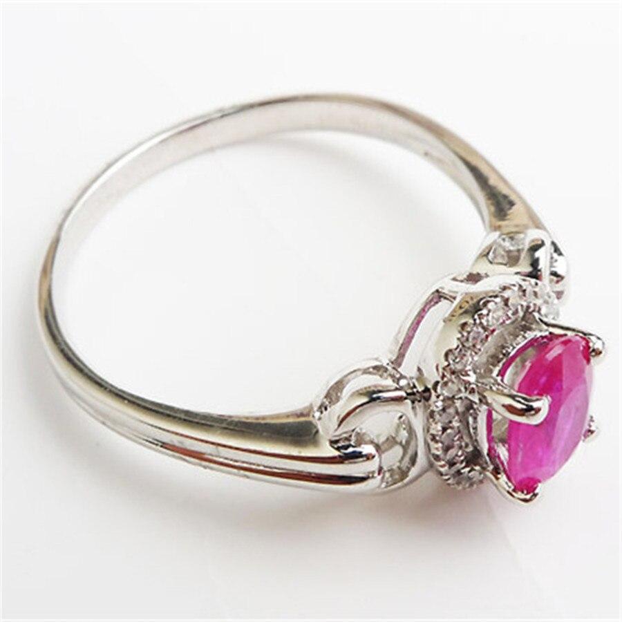 Bagues en cristal translucide de pierre gemme rouge naturelle pour les femmes 925 bague de fiançailles de mariage en argent Sterling taille 8 - 2