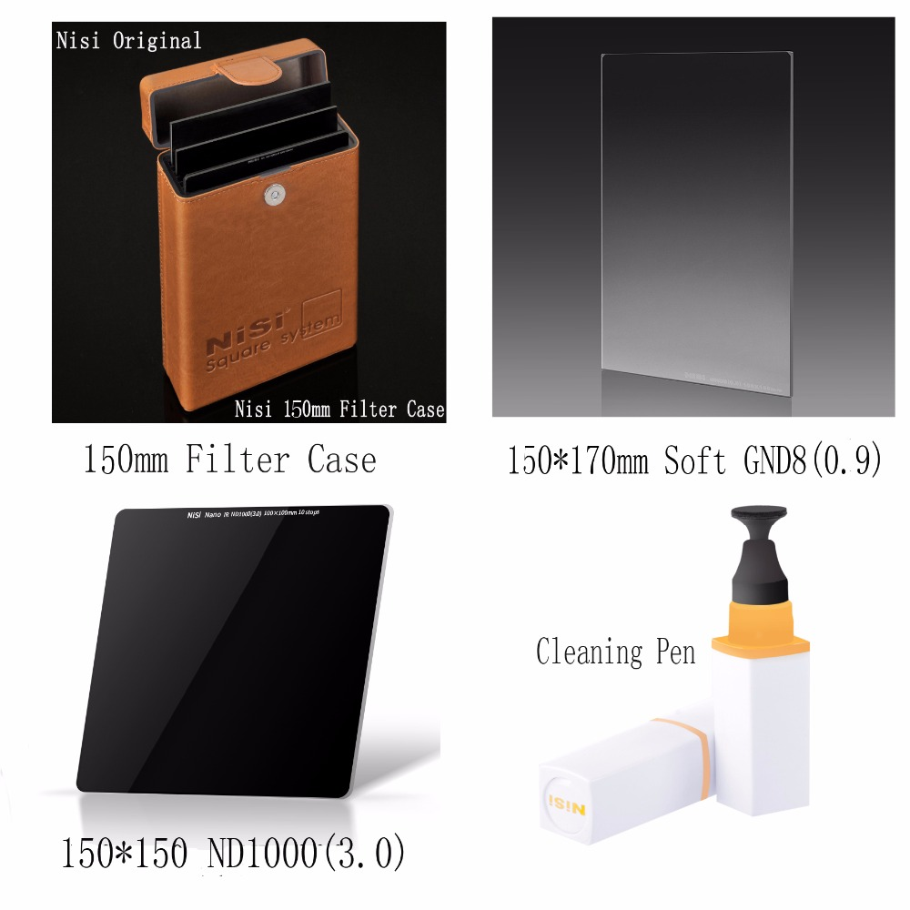 NISI 150*170mm Soft nano GND(8)0.9 Filter+150*150mm ND1000(3.0) 10 Stops Filter+150mm Filter case for up to 6 pcs+cleaning pen