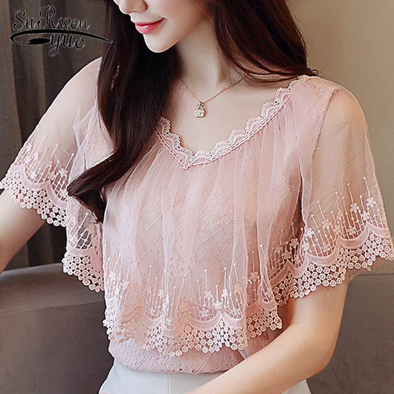 women tops and blouses summer lace blouse shirt Fashion women blouses 2019 short sleeve lace top female blusa feminina 0788 30