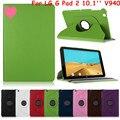 Для LG Gpad G Pad 2 10.1 ''V940 Tablet case 360 градусов Вращая Ультра Тонкий Личи Шаблон PU Кожаный Чехол Откидная Крышка