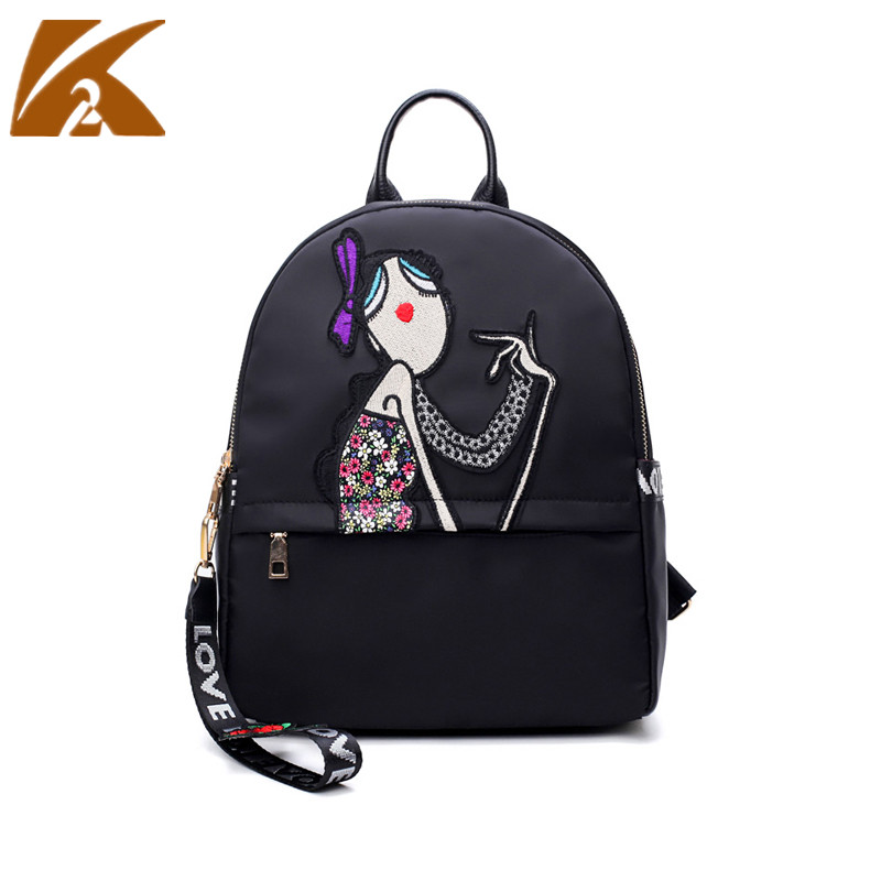 2018 Casual Nylon Rucksack Women Embroidered Backpack School Bags for Teenage Girls Large Capacity Travel Back Pack Bag Mochila