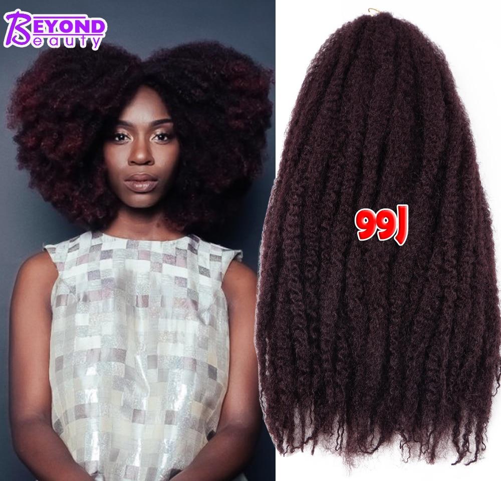 18Inch Synthetic Marley Braids Hair Cheap Fluffy Marley Hair Crochet Braids Ombre Jumbo Afro ...