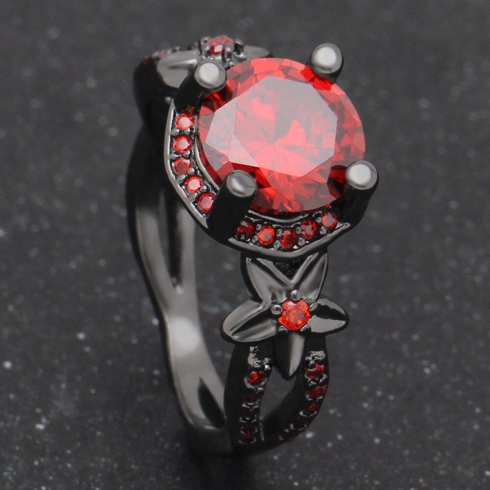 Мода цветок блестящий красный кольцо красный гранат Для женщин очаровательные Обручение Jewelry черное золото заполненные обещание Кольца ...