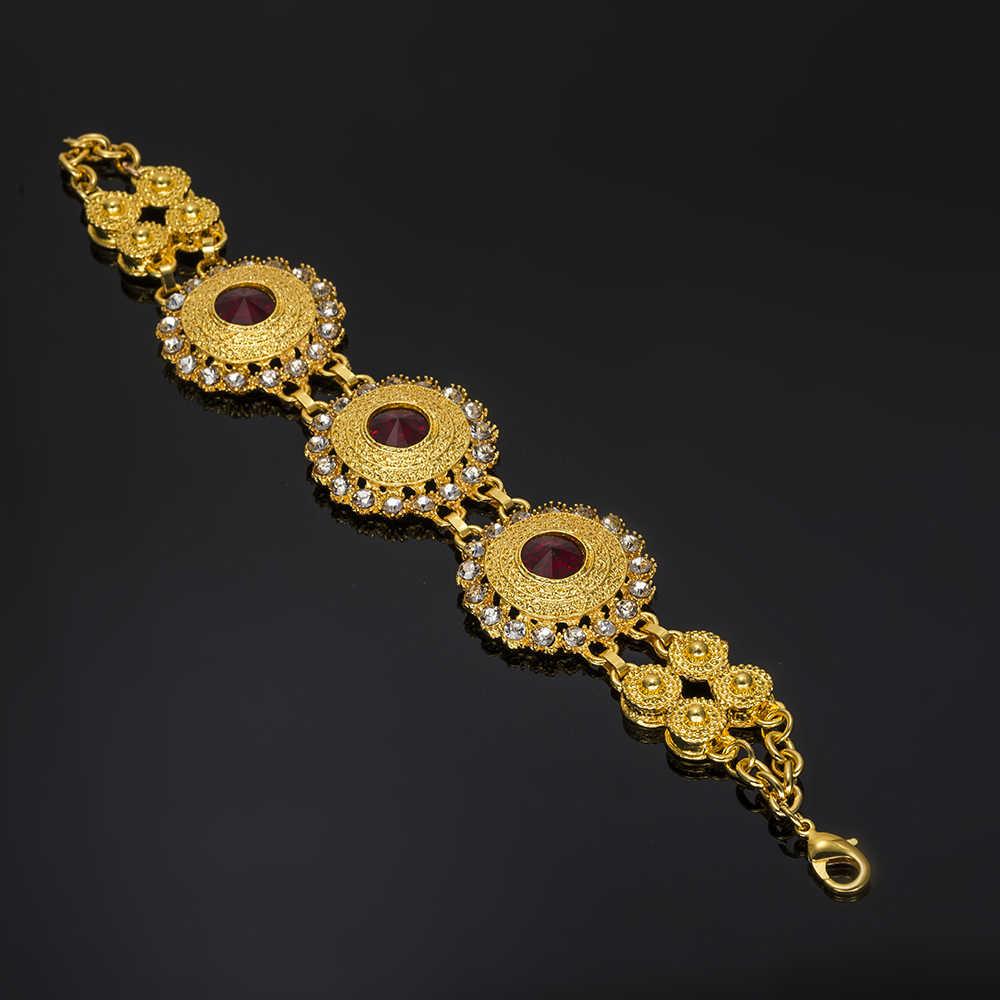BAUS Ethiopia đồ trang sức Dubai vàng-màu bộ đồ trang sức Pha Lê phi hạt trang sức set Choker Phụ Nữ Bridal Trang Sức Set Design