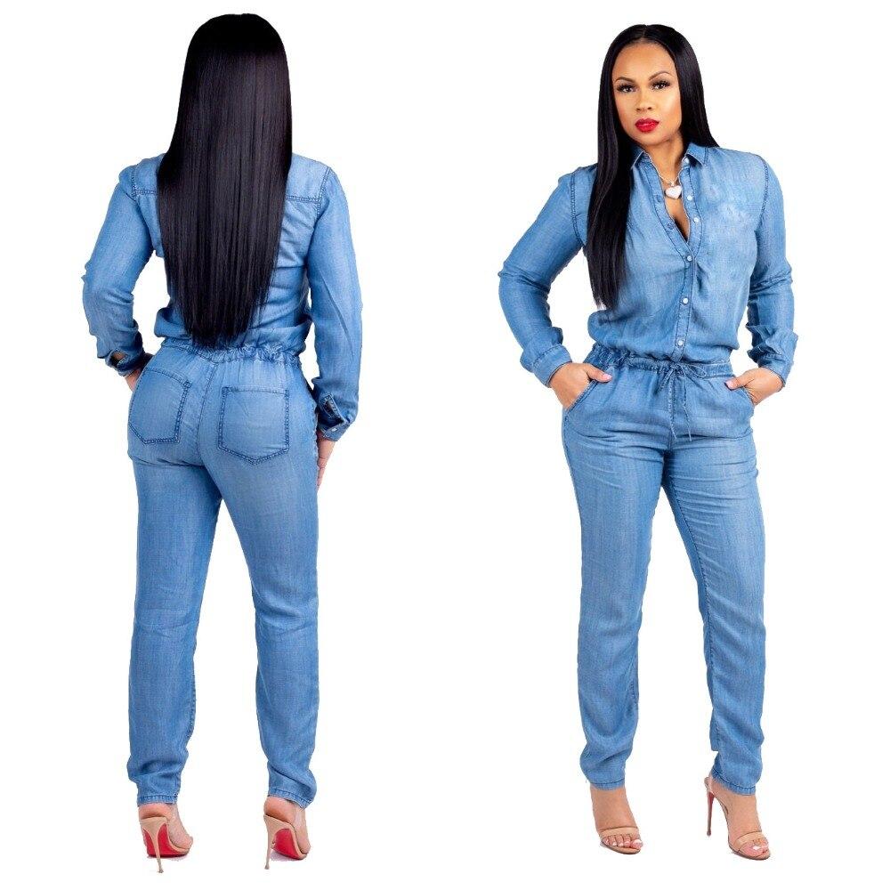 7cf6c448998 2019 Spring Women Blue Buttons Denim Long Jumpsuits Plus Size 3XL ...