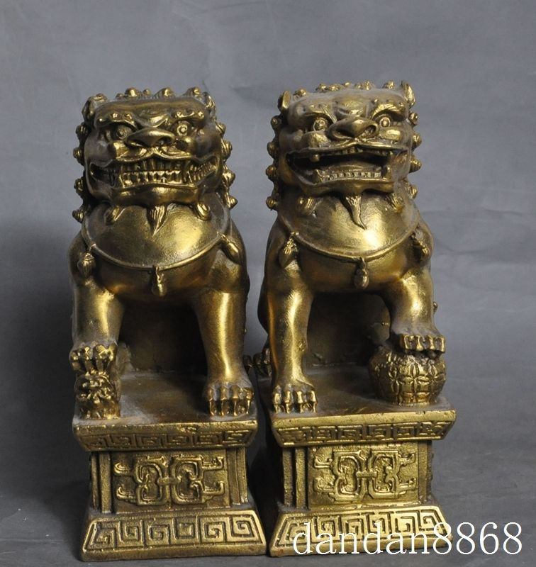 christmas China Bronze Copper Home Decoration Fengshui Guardian Fu Foo Dog Lion Statue halloween