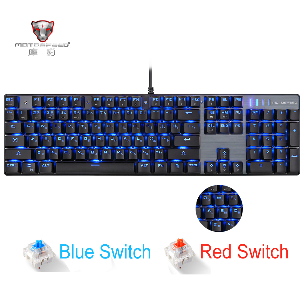 купить Original Motospeed CK104 Metal 104 Keys RGB Switch Gaming Wired Mechanical Keyboard LED Backlit Anti-Ghosting for Gamer Computer по цене 2907.95 рублей