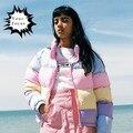 2016 bonito de kawaii lolita doce do vintage 90 s preguiçoso oaf macaron cores do arco para baixo casaco mulheres casacos de inverno curto casacos
