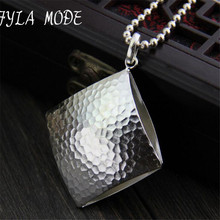 Fyla Mode Fashion Style Square Pendant 925 Sterling-Silver-Jewelry Clavicle Chain Necklace&Pendants Design Jewelry For Women