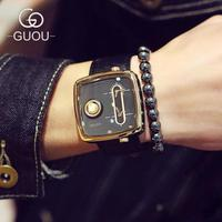 GUOU Brand Futuristic Trendy Casual Leather Strap Square Watches Male Men Magic Watch Military Quartz Men's Wristwatch GU003