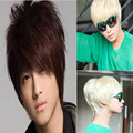 Mens Wigs Brown and Blonde Short Curly Synthetic Pixie Cut Pelucas Cosplay Wig Shop