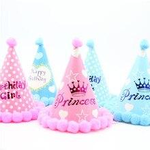 Шляпа для мальчика голубого и золотого цвета на первый день рождения, блестящая золотая розовая корона для принцессы вечерние украшения для детского душа, повязка на голову, мультяшная шапка
