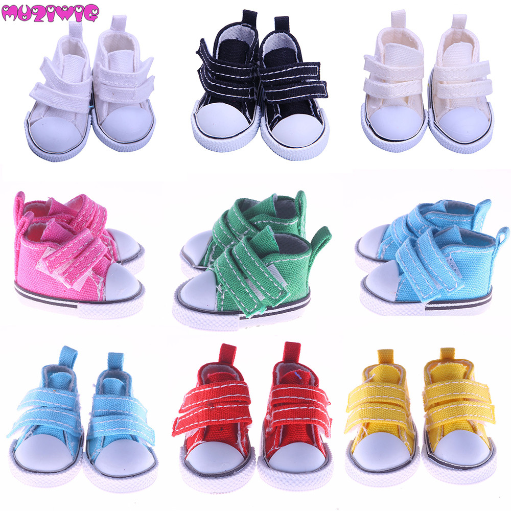 5cm Canvas Shoes for 1/6 BJD Doll Fashion Toy White Black Red Green Pink Yellow Sneakers Shoes Doll Accessories image