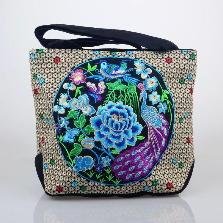 Newest Vintage canvas characteristics Folk Style Embroidered bag lady ethnic embroidery Shoulder Bag travel tote handbag