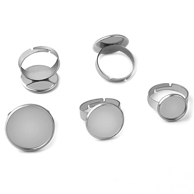 Glass Cabochons Bases Stainless Steel Ring Findings Blanks