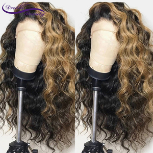 Image 4 - Ombre Highlight Color Lace Front Human Hair Wigs with Baby Hair 13x4 Pre Plucked Hairline Remy Brazilian Wavy Hair dream beauty