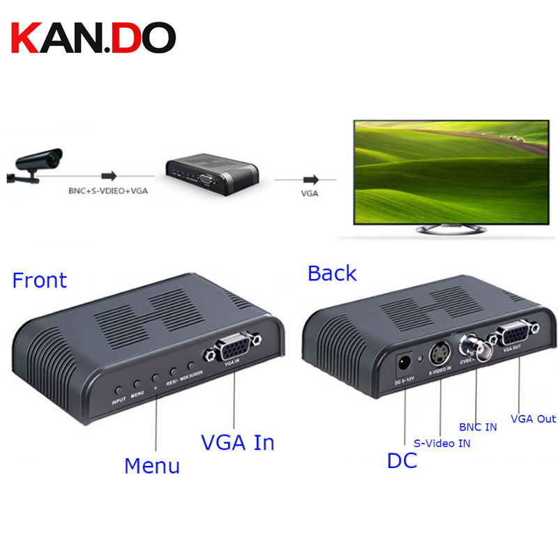 7505 Ultra HD 1080P BNC + S - Video To VGA AV Adapter For Computer HDTV Projector ( AC 100 - 240V ) BLACK