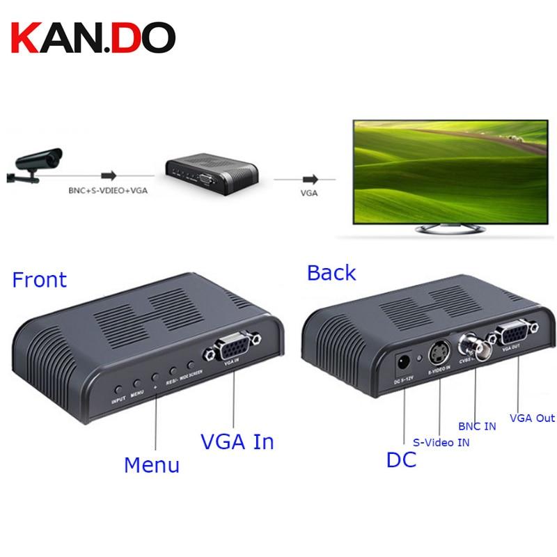7505 Ultra HD 1080P BNC + S - Video To VGA AV Adapter For Computer HDTV Projector ( AC 100 - 240V ) BLACK