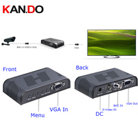 7505 Ultra HD 1080P BNC + S Video to VGA AV Adapter for Computer HDTV Projector ( AC 100 240V ) BLACK