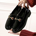 2017 new spring black brand slip-on women round toe patent leather shoes for lady fashion oxford casual flat shoes