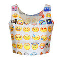 VI Fashion Women Summer Casual  T shirt Emoji Crop Top Sleeveless Sexy Top Camisole 3d Cartoon Pattern Crop Tops