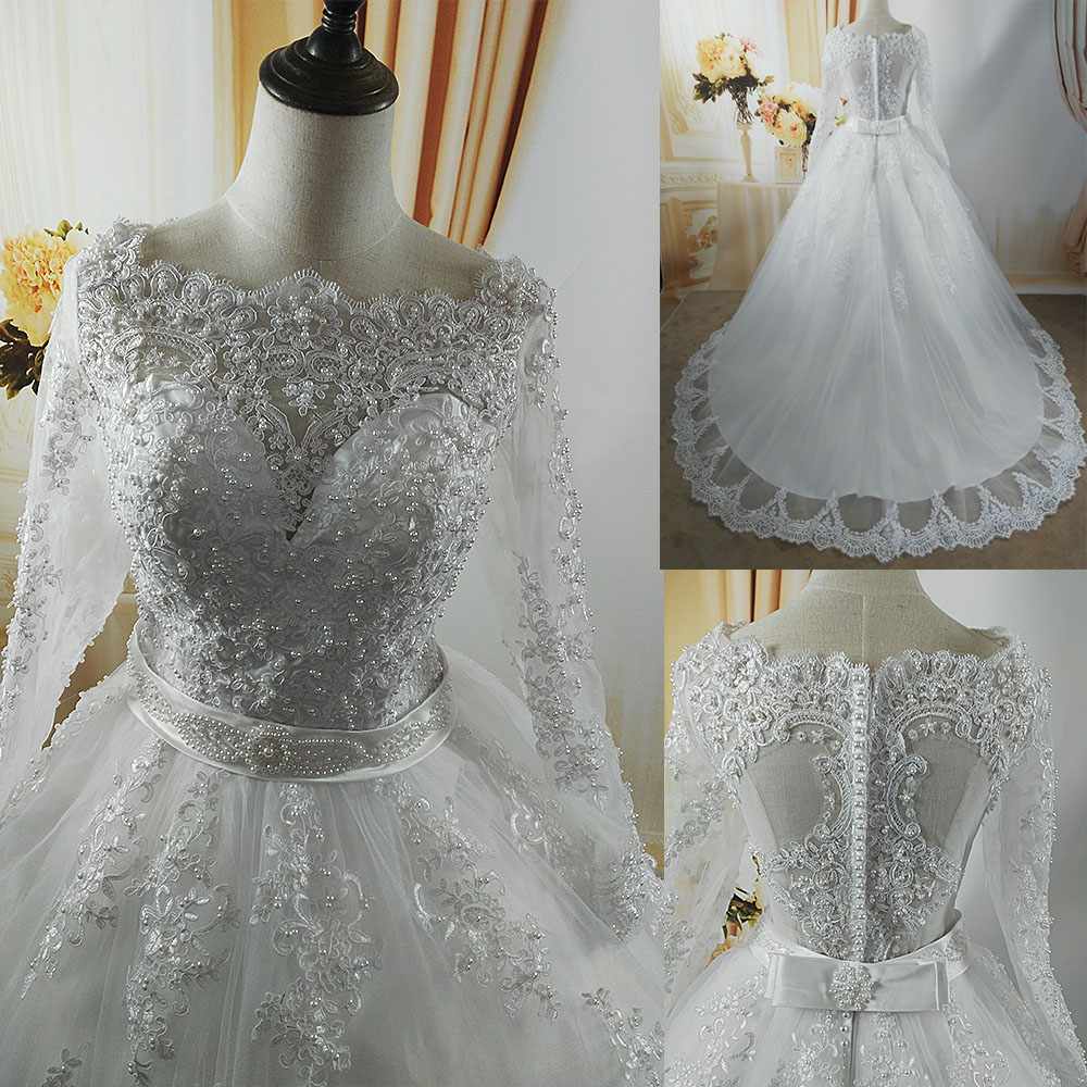 ZJ9131 2019 White Ivory Elegant Ball Gown Pearls Wedding Dresses for brides Lace sweetheart with lace edge Plus Size