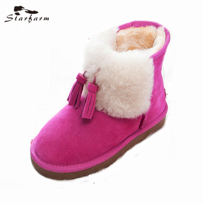 STARFARM Wool Boots Suede Calfskin Ankle Boots Mujer Genuine Leather Women Shoes Woman Winter Snow Boots Fashion Russian Boots women boots 2017 fashion shoes woman genuine leather wedges ankle boots winter wool snow boots women shoes