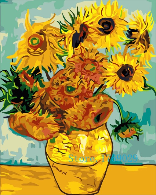 Van Gogh Bunga Matahari Mewarnai Dengan Nomor Rumah Dekorasi Dinding