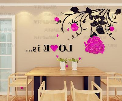 Cherry fly 3D acrylic three dimensional wall stickers living room ...