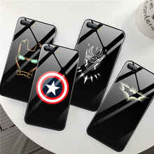 GYKZ Avengers Marvel Batman Captain America Iron Man Glass Phone Case For iPhone XS MAX XR X 7 8 6 6s Plus Hard Mirror Cover Bag