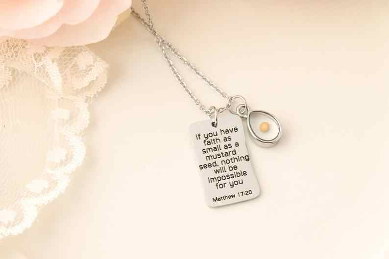 Mustard Seed Necklace,Inspirational Christian Gift,Matthew 17:20 Necklace,Faith as small as a mustard seed,bible verse necklace