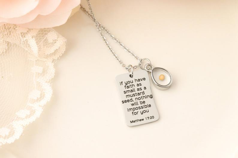 Mustard Seed Necklace,Inspirational Christian Gift,Matthew 17:20 Necklace,Faith as small as a mustard seed,bible verse necklace|Pendant Necklaces|Jewelry & Accessories - AliExpress