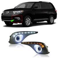 Ownsun превосходное 55 Вт Галогенные лампочки COB Противотуманные фары + DRL источник Ангел глаз бампера для Toyota Highlander 2012 2013