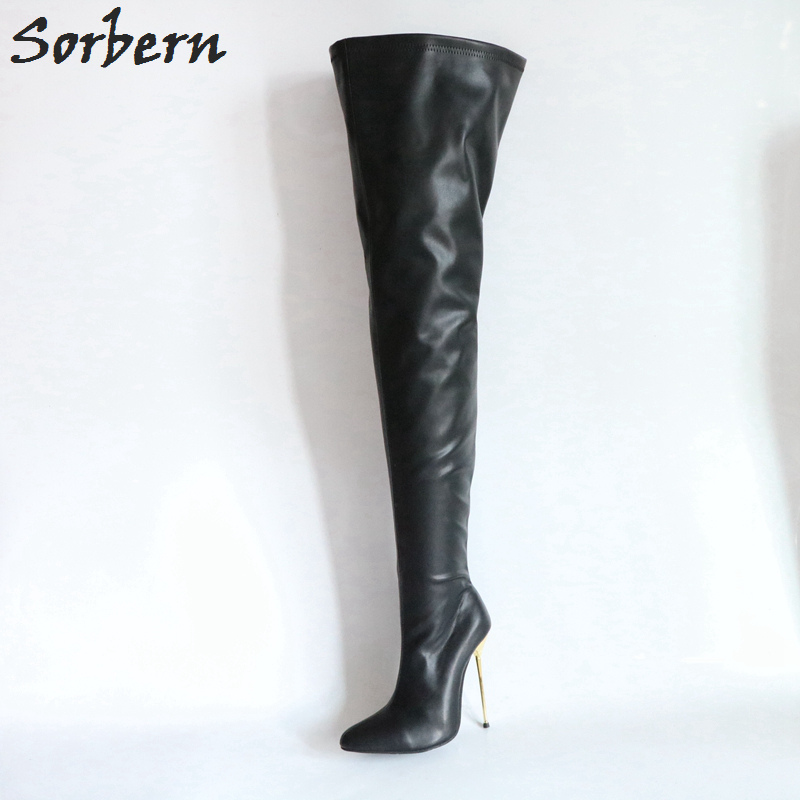 Sorbern 12Cm 14Cm 16Cm Steel Gold Heels Crotch Thigh High Boots Women Size 32-52 Big Size Unisex Custom Wide Fit Leg Boots Women high quality wireless gsm sms pstn anti thief alarme maison with pet immune pir sensor free shipping